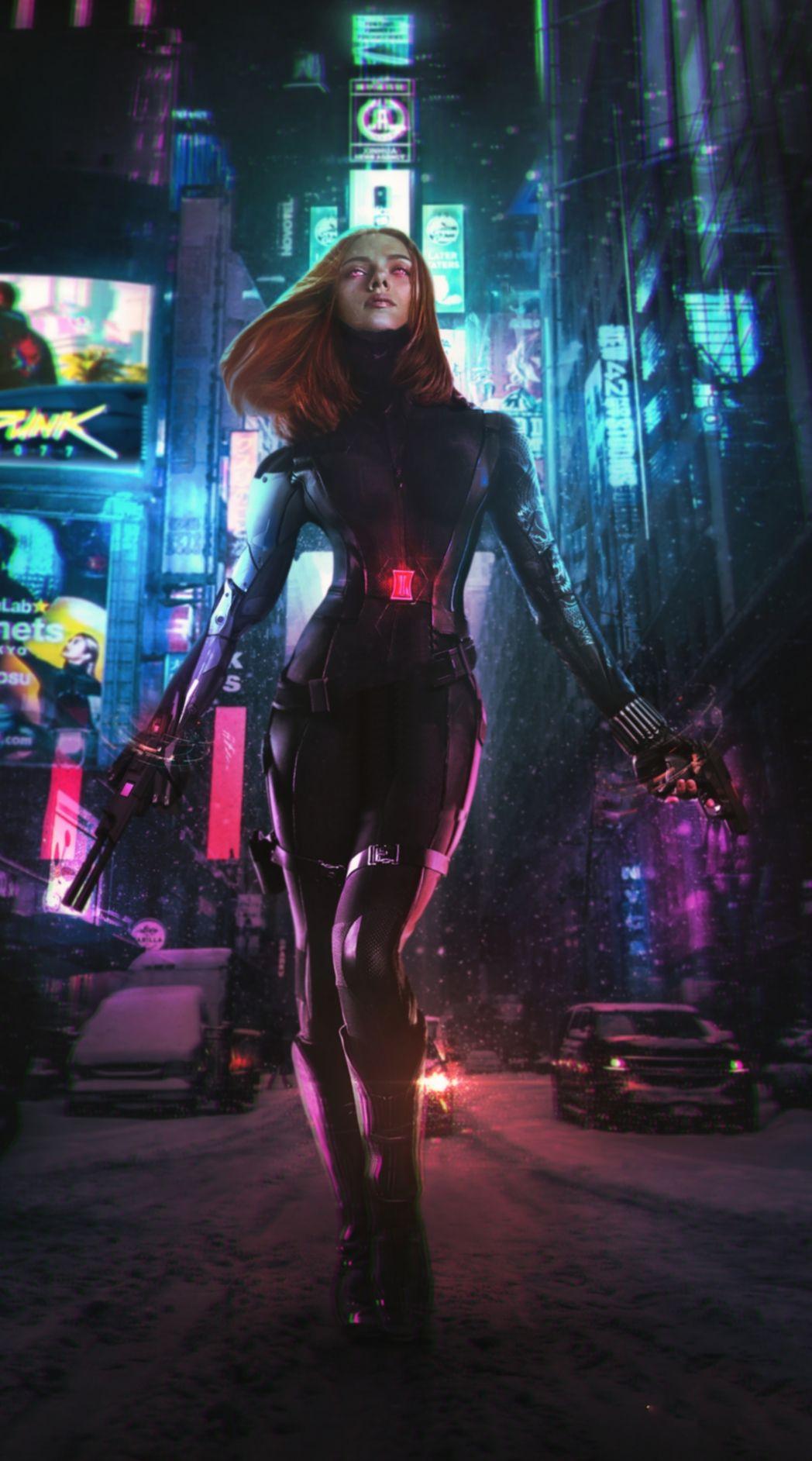 Black Widow Cyberpunk Wallpaper HD Mobile movie