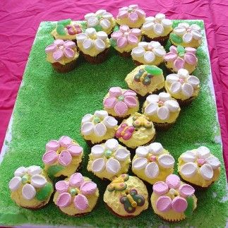 Flower cupcakes for flower party theme or garden party theme Very