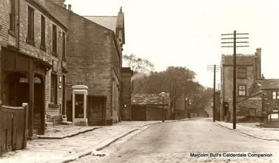 Towngate, Southowram: The photo looking North along Towngate was probably taken in late 40's early 1950's At that time starting on left hand side   Under the wooden canopy is