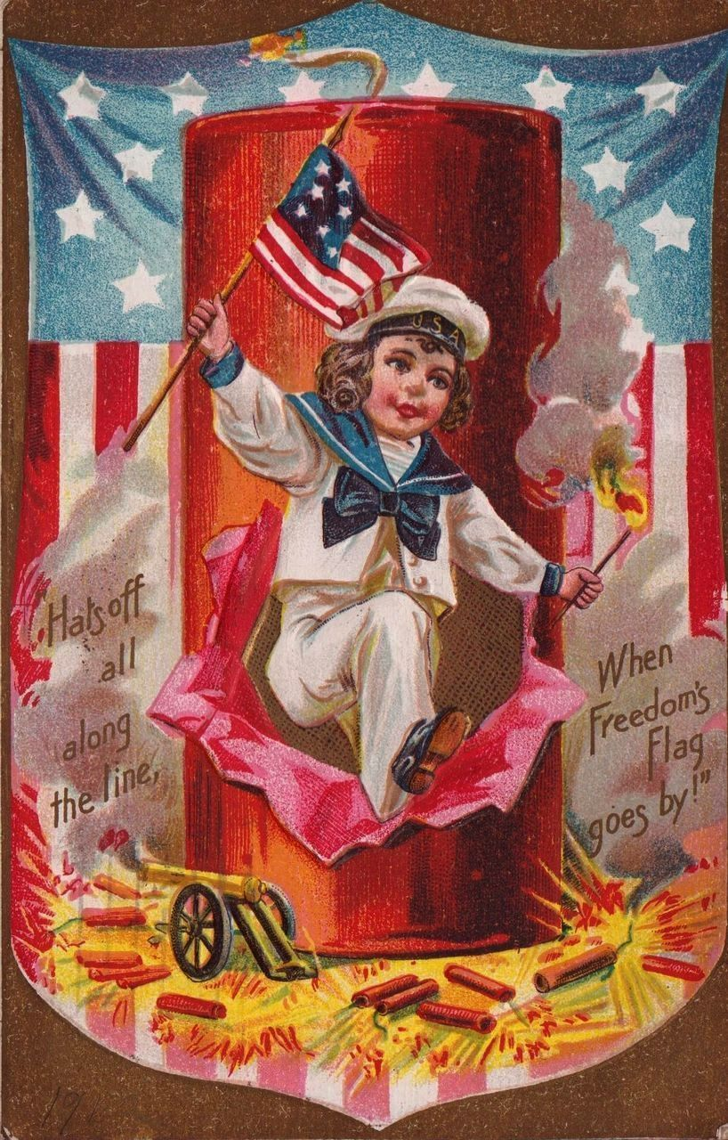4th of July Ellen Clapsaddle Fabric Block Glorious 4th