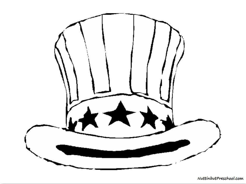 Fourth Of July Uncle Sam Hat Use It As A Coloring Page Or In An