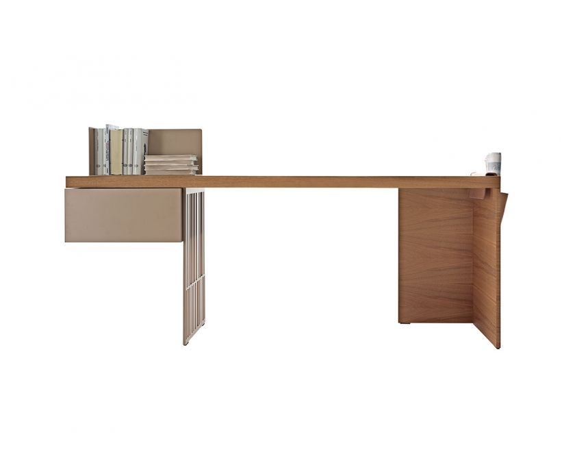 A Desk With Very Clean Lines And A Decoratively Perforated Top Support Eleme In 2020 Modern Home Office Furniture Wooden Office Desk Contemporary Home Office Furniture