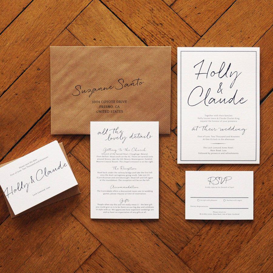 East Coast Modern Wedding Invitation set on Luxury Card