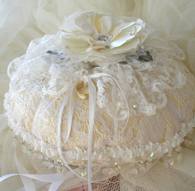 ringbearer pillow lace wedding pillow bridal ring pillow vintage