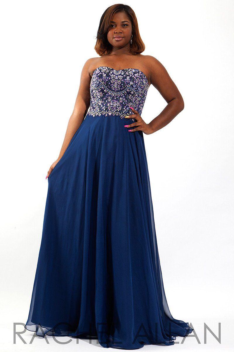 Rachel allan plus navy strapless beaded chiffon prom dress