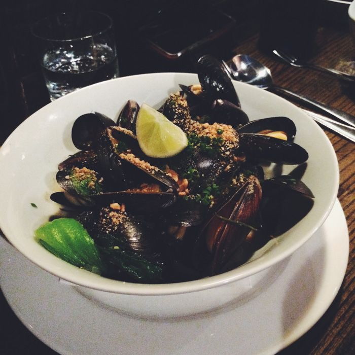 mussels - lime, coconut, ginger, chili... sounds right