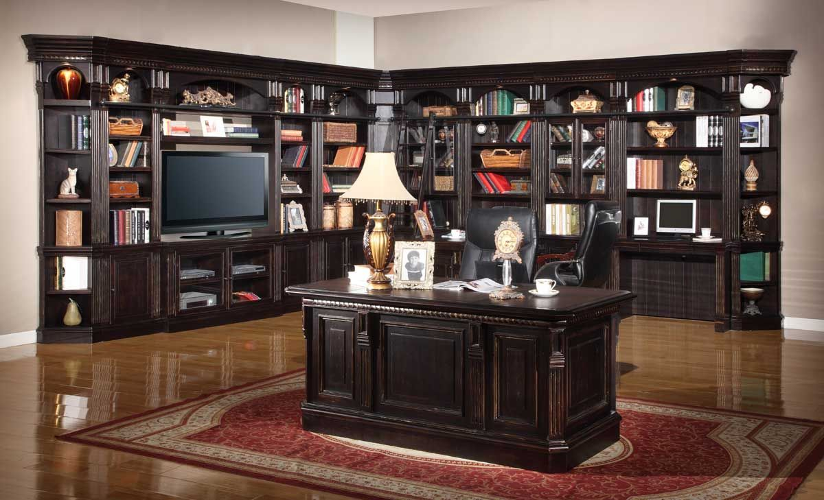 Furniture,Exquisite Parker House Furniture Retailer Design With Multi  Functional Large Library And Entertaiment Center