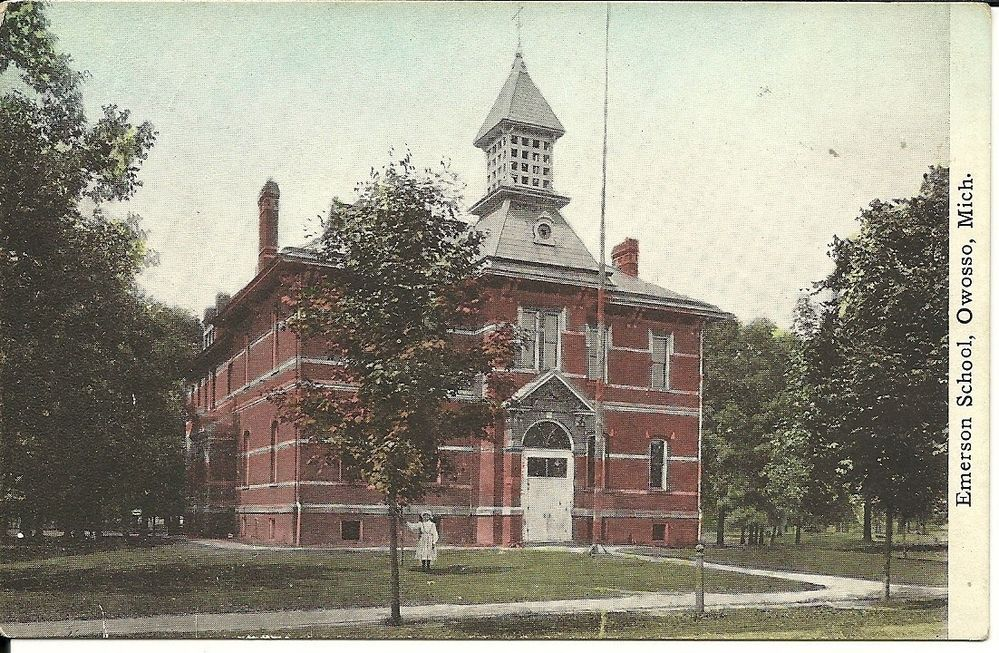 Emerson School Vintage Postcard Owosso Michigan Pub By M De