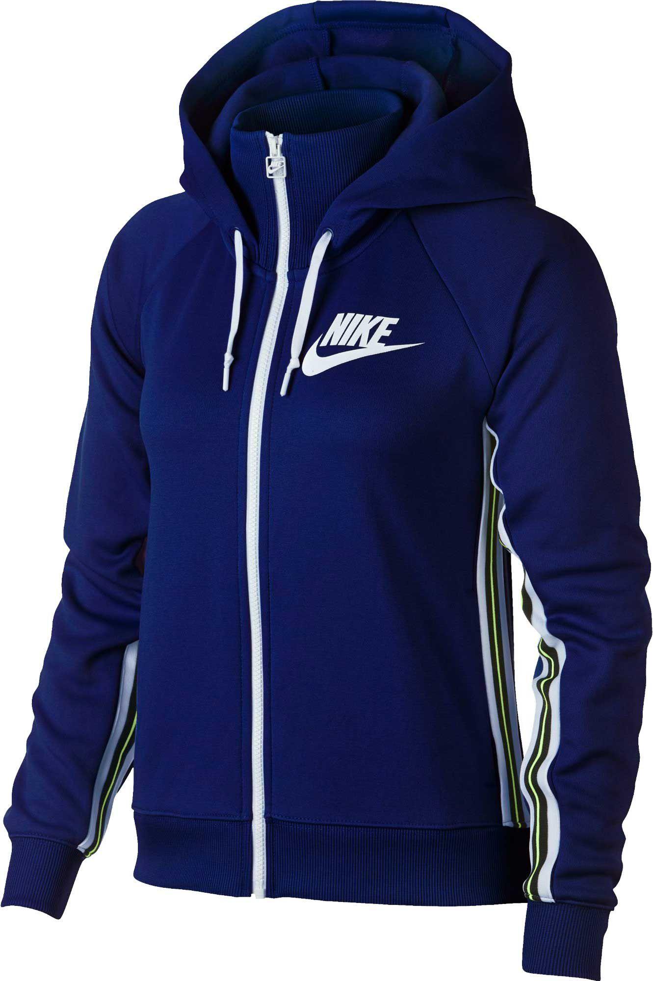 sports shoes e2c2a 717bb Nike Women s Sportswear Full-Zip Tracksuit Hoodie, Size  XXL, Blue