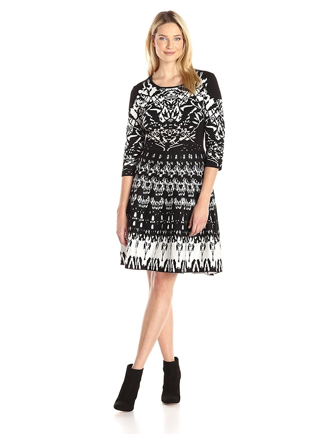 Women S 3 4 Sleeved Aztec Printed Sweater Dress Black Ivory Tan