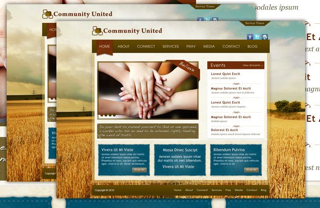 Community United Free PSD Church Template Free PSD Templates - Church website templates