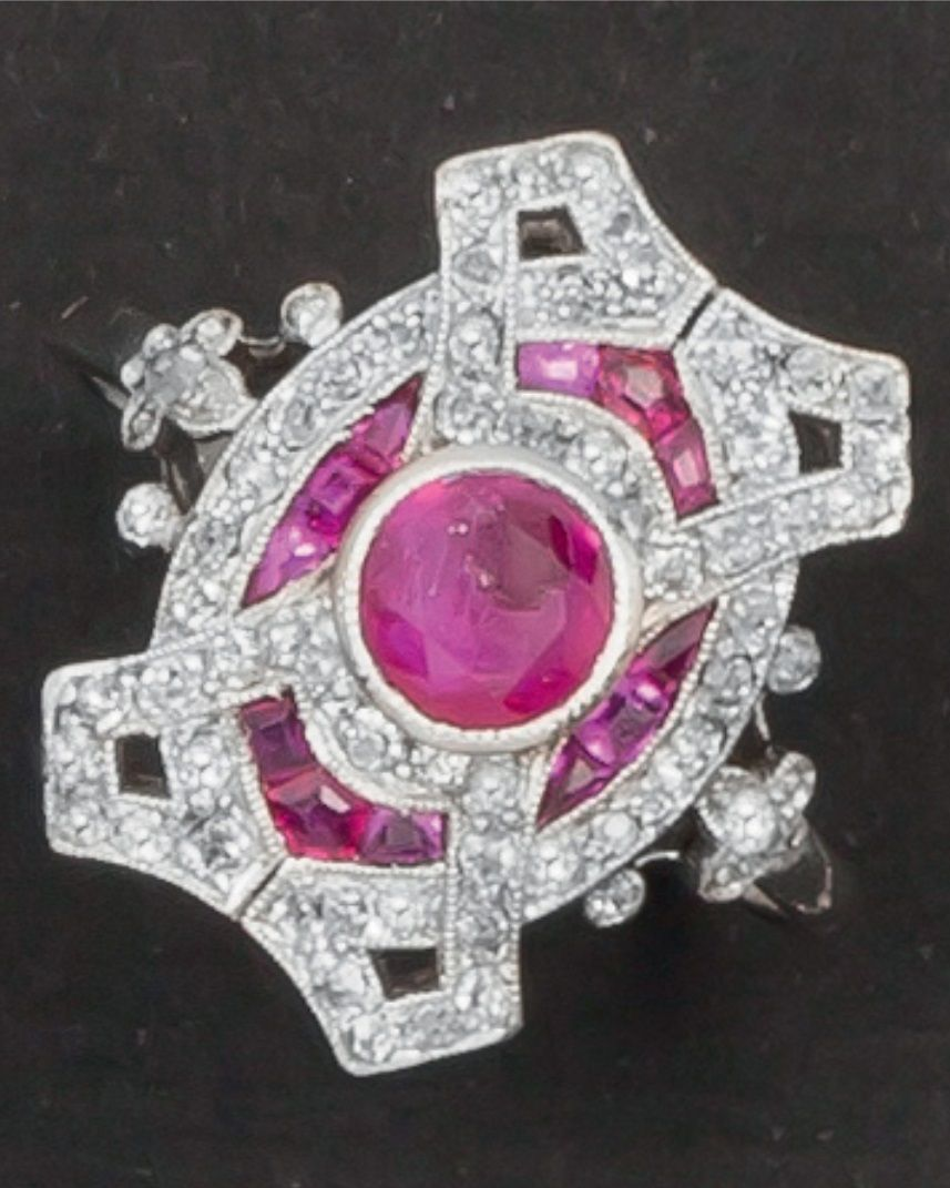 An early Art Deco platinum, diamond and Burmese ruby ring, about ...