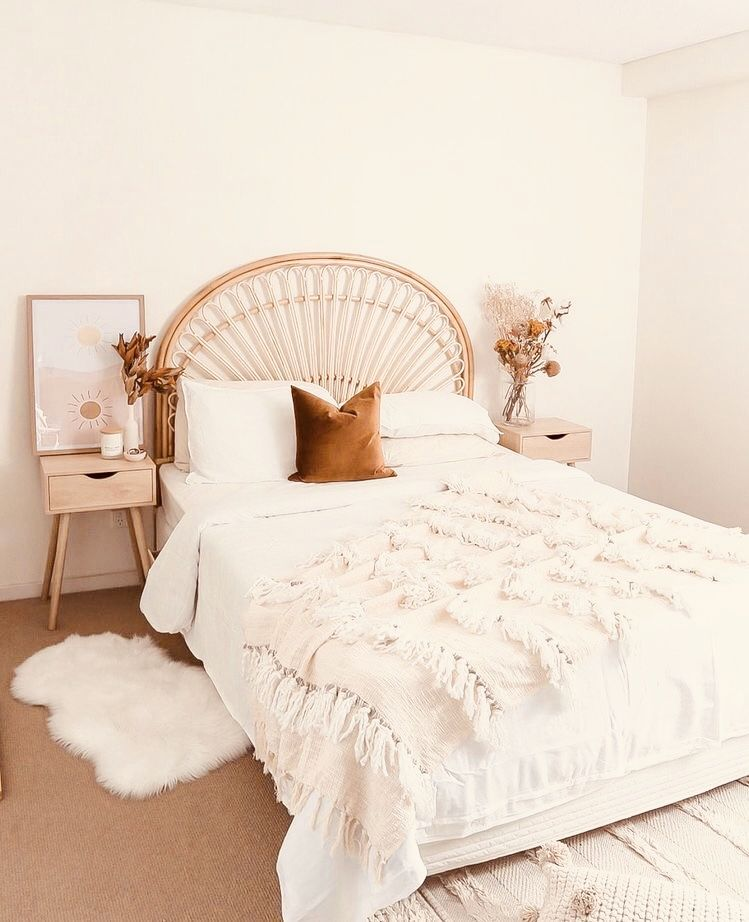 simple bohemian contemporary bedroom decor rattan bed