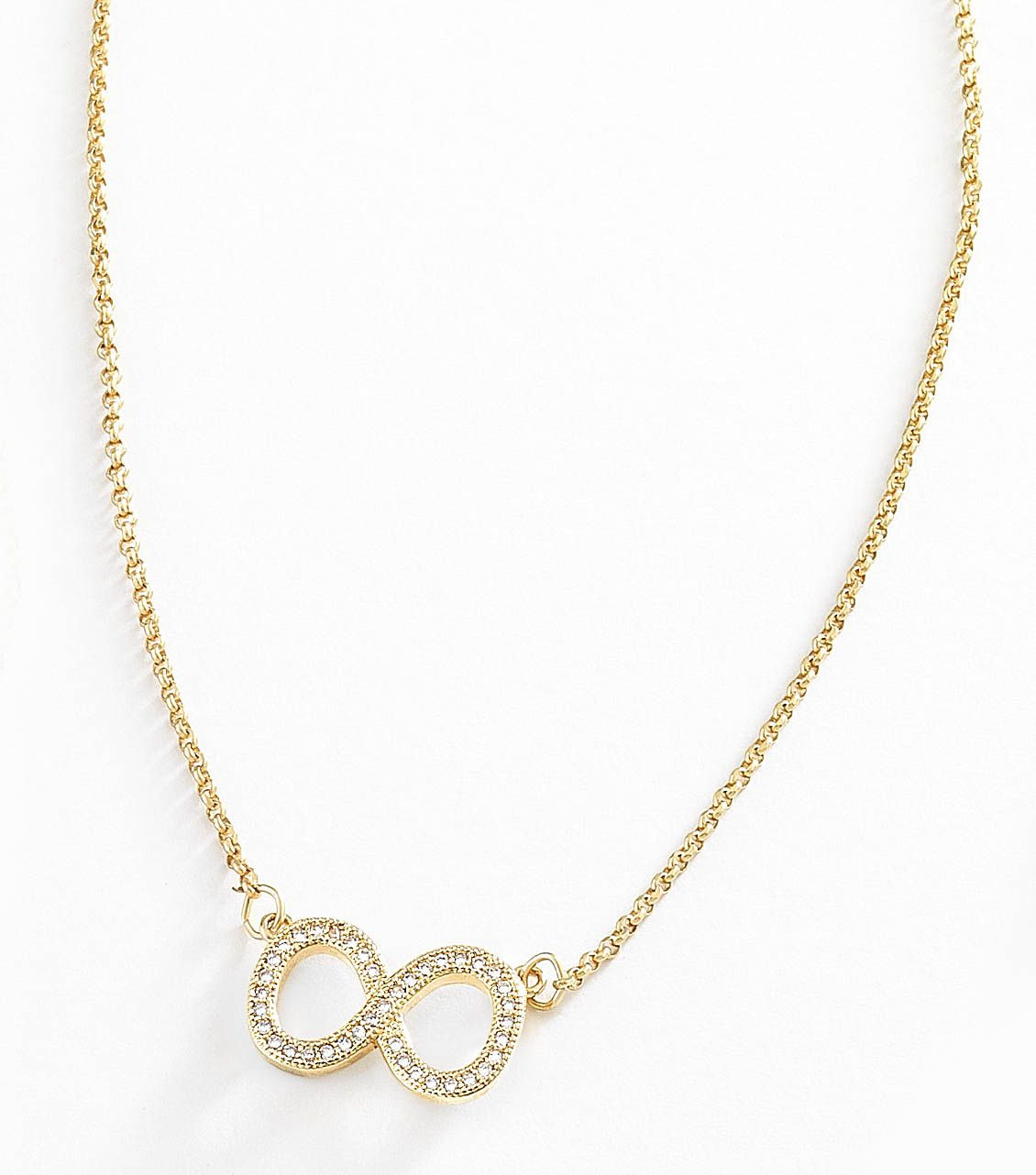 deece7db38c0 Distinguido collar con cadena elaborado con 4 baños de oro de 18 kt con  dije infinito con hermosas piedras de cristal Diamonice®. Modelo 415251.