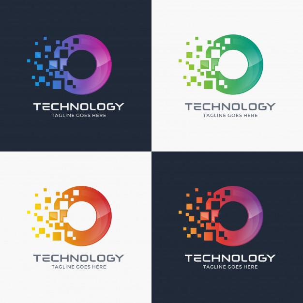 Abstract Modern Letter O Logo Template Abstract Logo Data Logo Logo Design Set