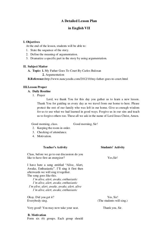 A Detailed Lesson Plan in English VII I Objectives At the end of - lesson plan objectives