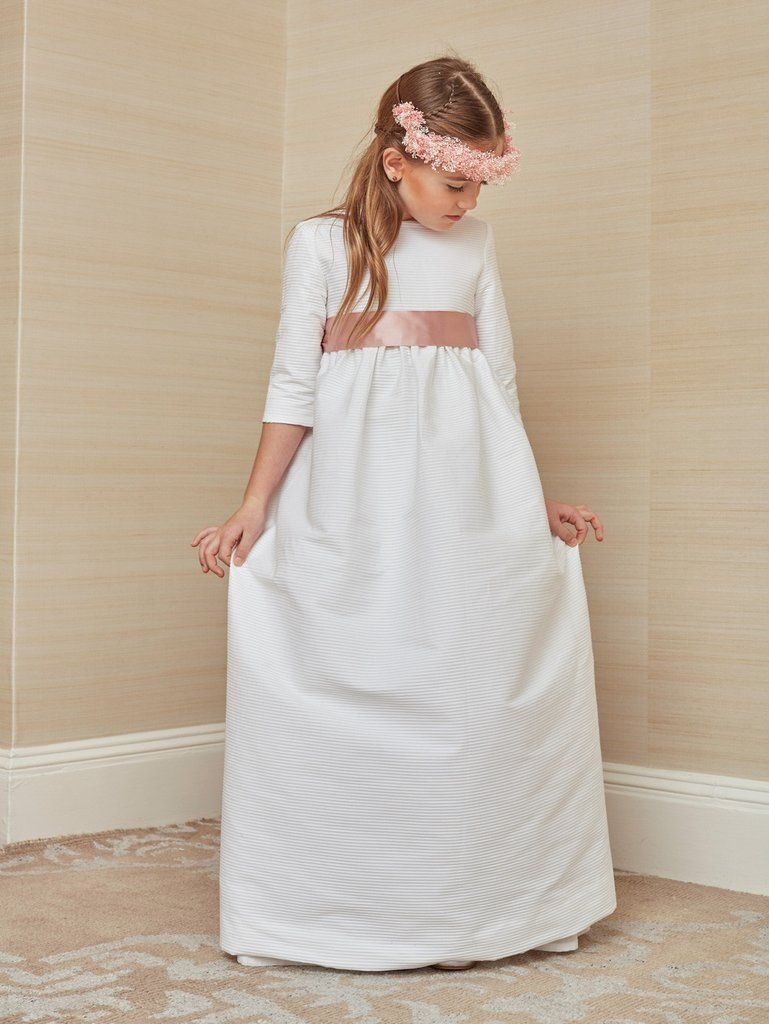 91044159f9ca0 First Communion Dress in White Mini Pleated Cotton | Wedding Belles ...