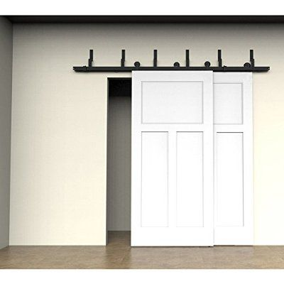 Winsoon 10ft Black Antique Sliding Roller Bypass Barn Double Wood Door Hardware Rustic C Double Sliding Barn Doors Bypass Barn Door Double Barn Doors