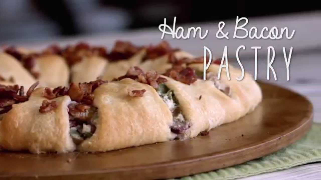 Ham & Bacon Pastry that is sure to please any crowd and is perfect for ham leftovers after the holidays! #brunch #recipe #video