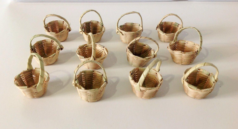 12 Pcs Miniature Hand Woven Mexican Baskets Mini Baskets Miniature