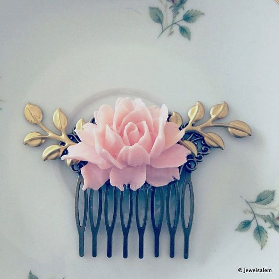 Pale Pink Bridal Hair Comb Blush Wedding Headpiece Bridal Hair Accessories Flower Hair Slide with Gold Leaves Bridesmaids Hair Pin