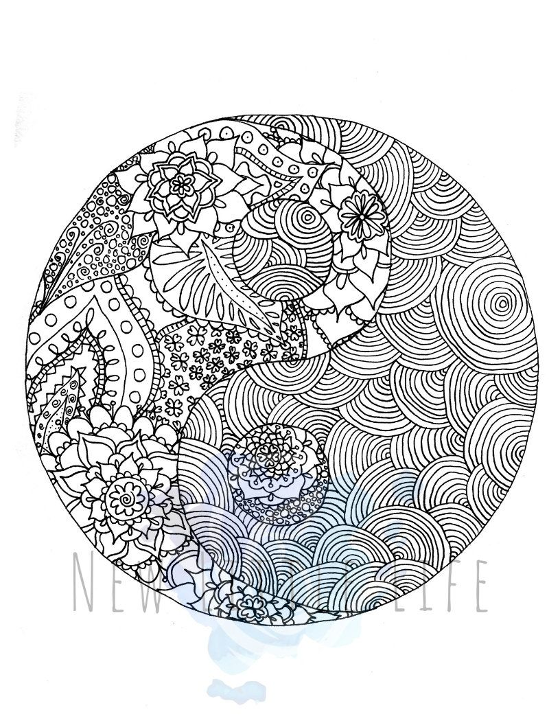 Yin Yang Coloring Page Digital Download Adult Coloring Chakra