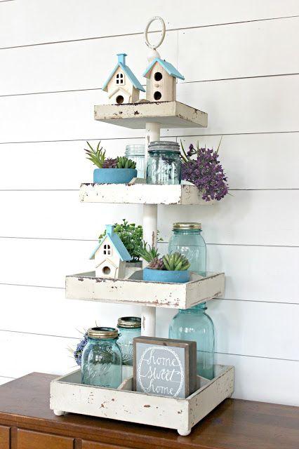Easy Spring Decorating Idea: Tiered Tray Decor