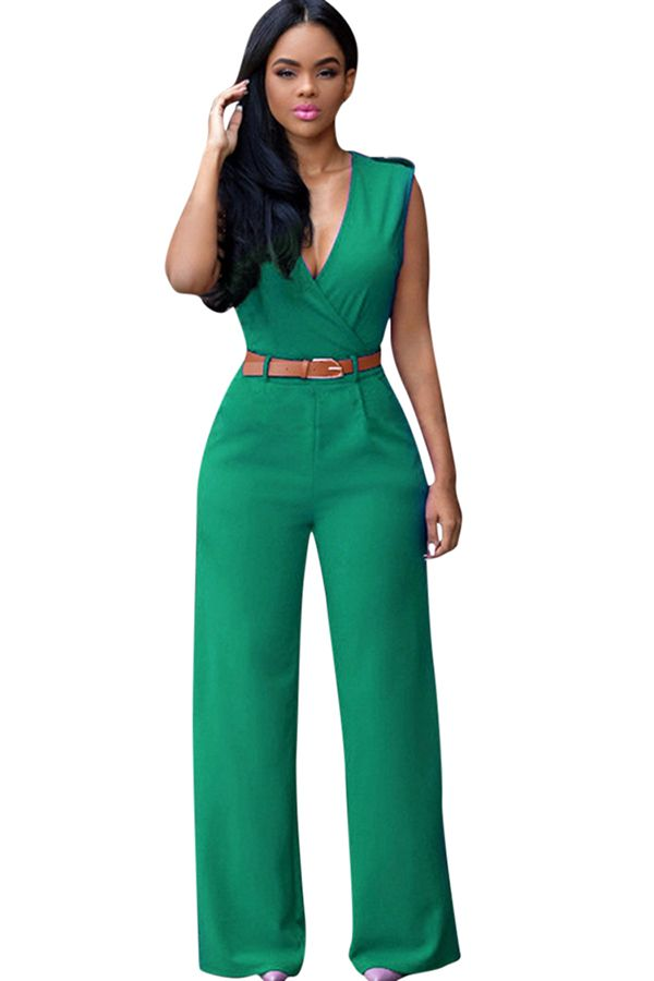 4687fbd5cd Free Shipping Worldwide for Womens Deep V Neck Sleeveless High Waist Wide  Leg Jumpsuit Green