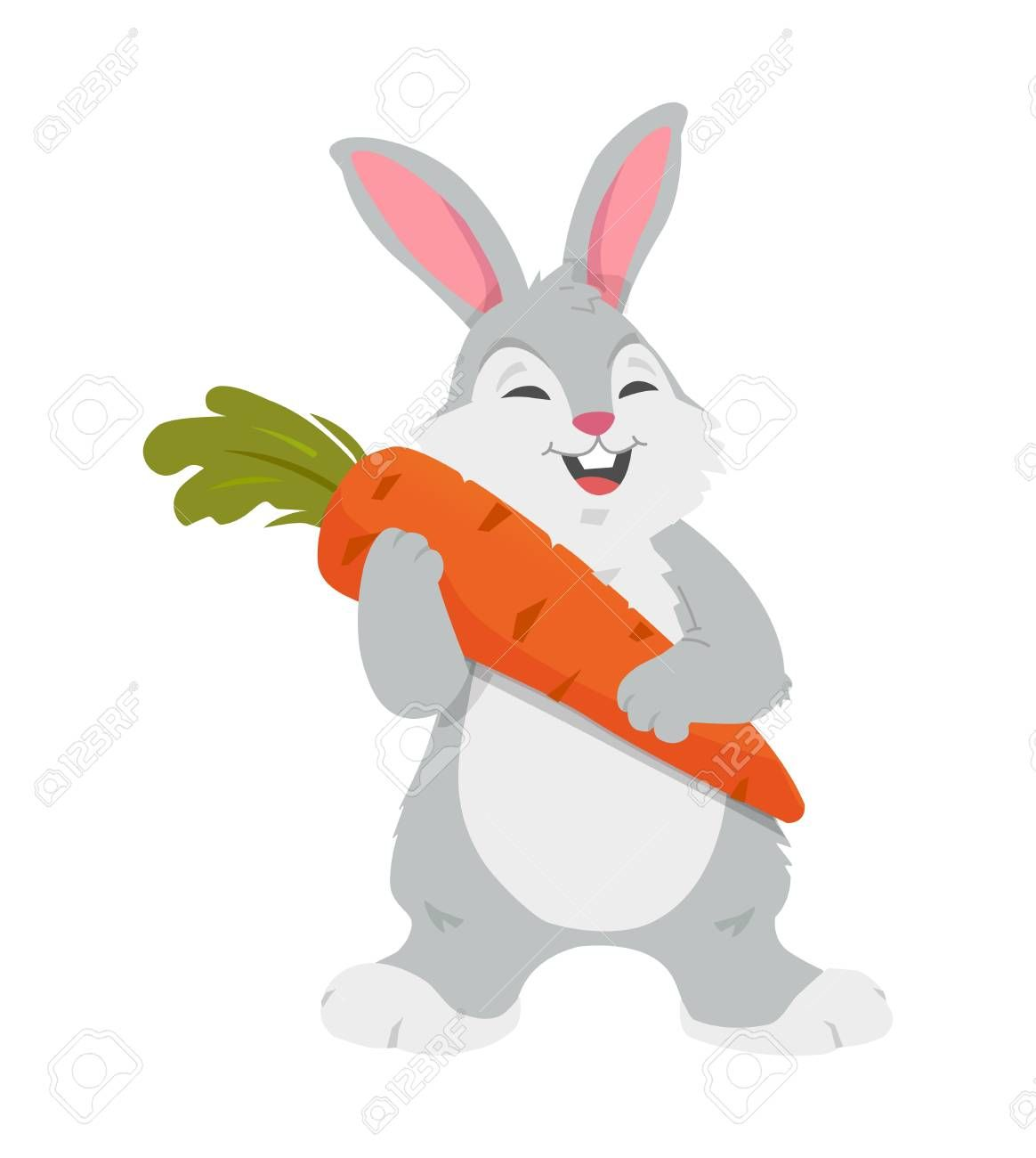 Cheerful Rabbit With Carrot Colorful Cartoon Character Vector