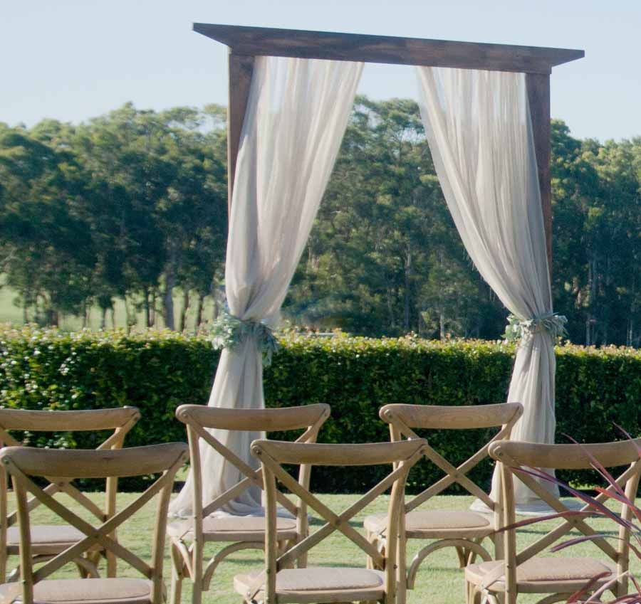 Outdoor Wedding Seating Ideas: Rustic Timber Wedding Ceremony Arbor Timber Ceremony