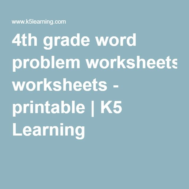 4th grade word problem worksheets - printable | K5 Learning | fifth ...