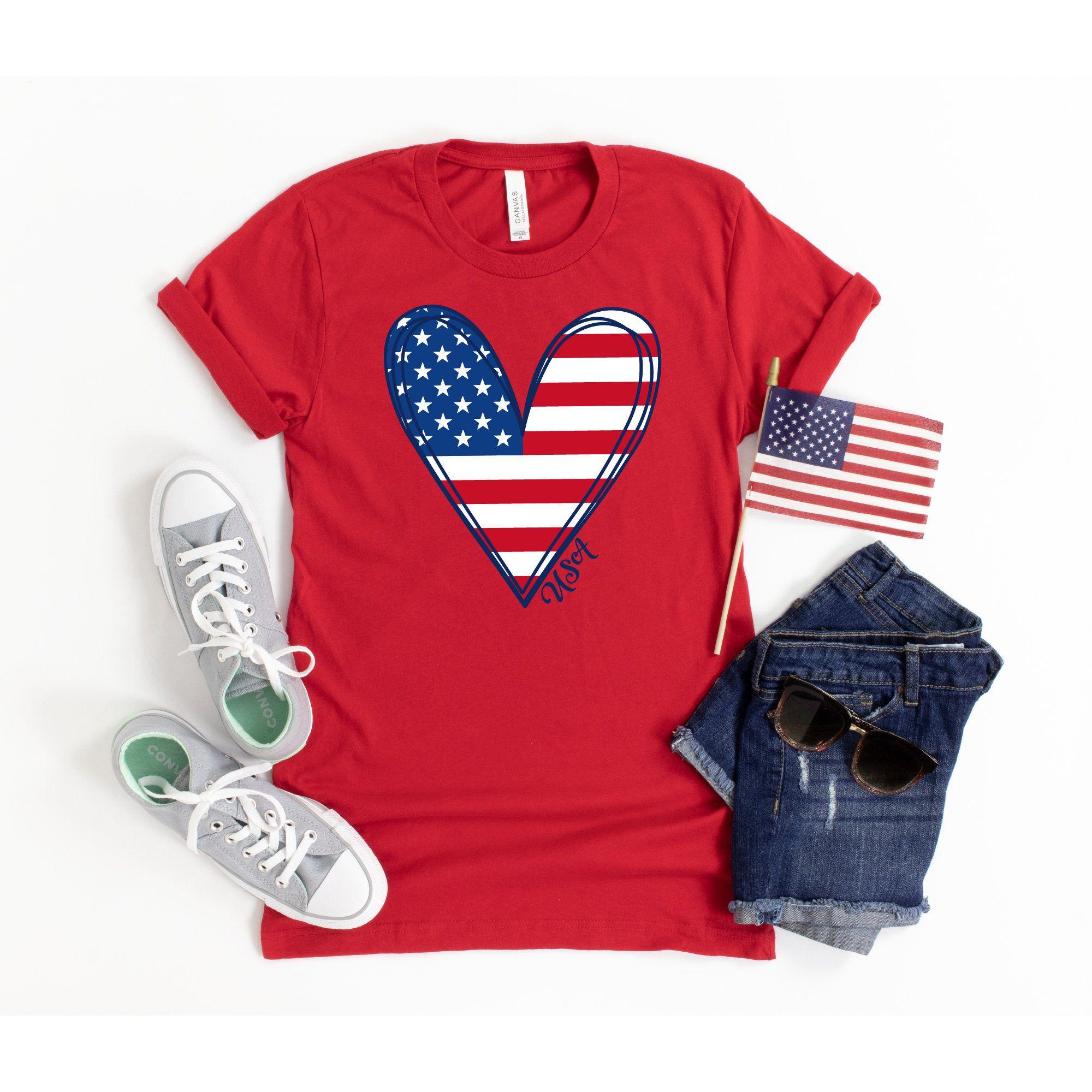 American Flag Shirt 4th Of July Shirt Women Usa Shirt July Etsy In 2020 Womens Shirts Blue Shirt Women Fourth Of July Shirts