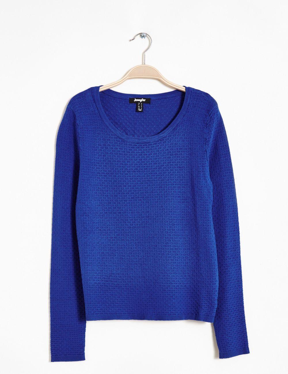 Pull reliéfé bleu éléctrique - http://www.jennyfer.com/fr-fr/collection/pulls-et-gilets/pull-reliefe-bleu-electrique-10008615049.html