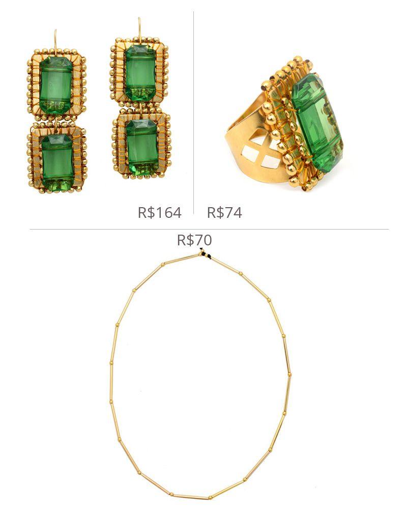 Peças em metal banhado a ouro e pedra retangular em resina verde