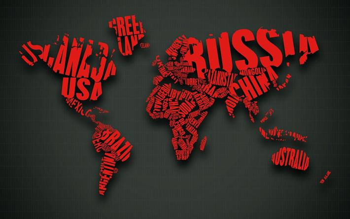 Download Wallpapers World Map Typography Art Creative Gray Backgrounds Besthqwallpapers Com Harita Yaratici Tipografi