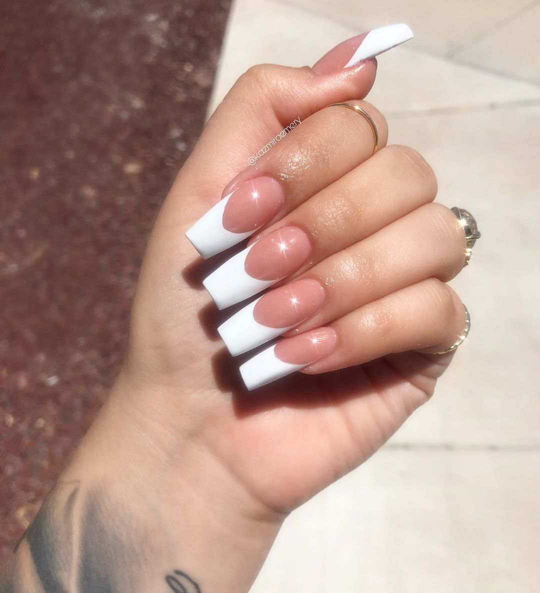 Hand Painted French Tips On Tapered Squared Kazmiraemery Elpasonails Lice French Tip Acrylic Nails Long French Tip Nails Square Acrylic Nails