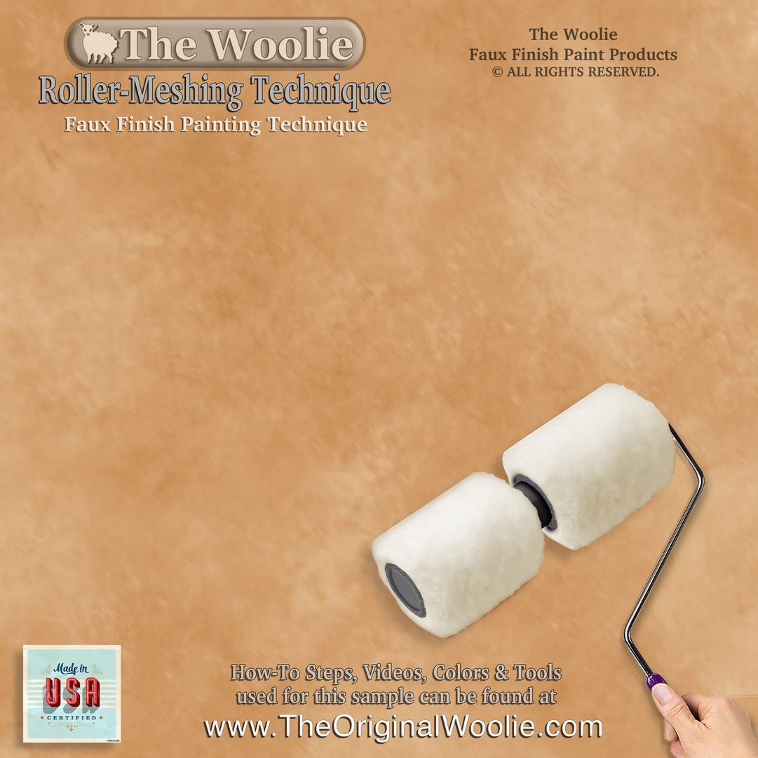 Original Dual 2 Color Split Roller Faux Painting Beginner Starter Kit Sheepskin Lambswool Dual Roller Faux Painting Painting Edges Painting Techniques