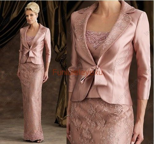 Free Jacket Floor Length Lace Mother of the Bride/ Groom Dress ...