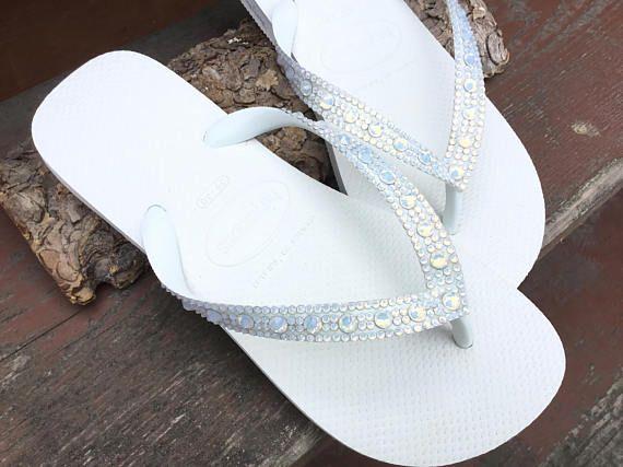 57cbf6574174 White Opal Crystal Wedding Flip Flops Full Moon Bling