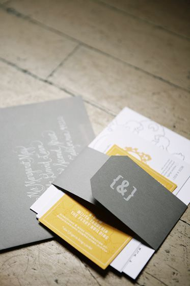 amazing custom yellow and grey invitations