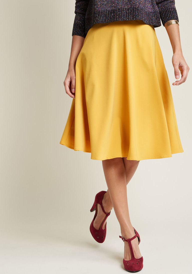 be7c9dd98114e2 Just This Sway A-Line Skirt in Goldenrod in 1X - Full Skirt Mid by ModCloth