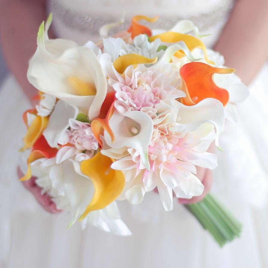 Yellow orange calla lily bouquet dahlia flower bouquet wedding bride