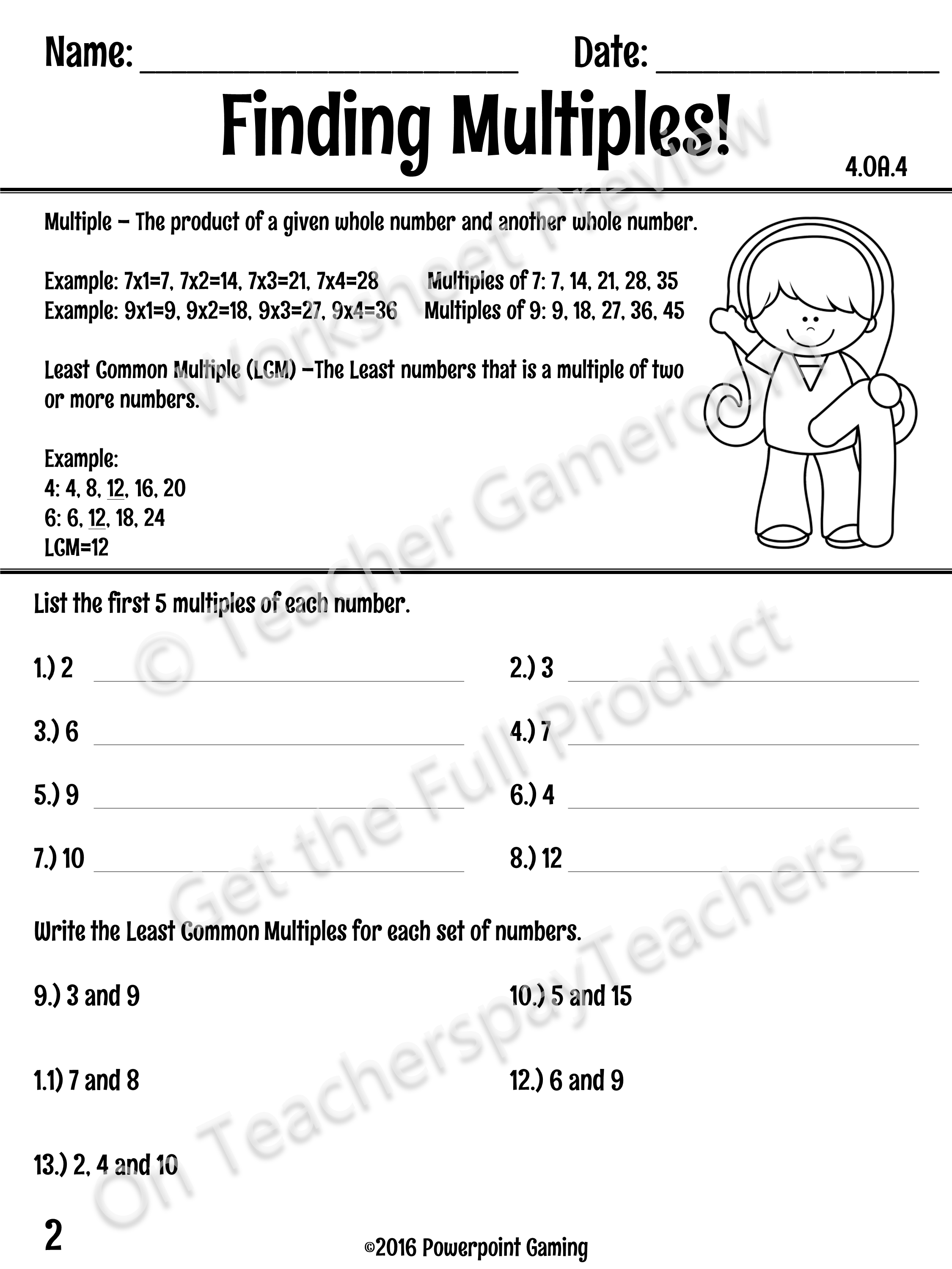 This Worksheet Teaches Students How To Find The Least Common Multiple Lcm With Notes At The