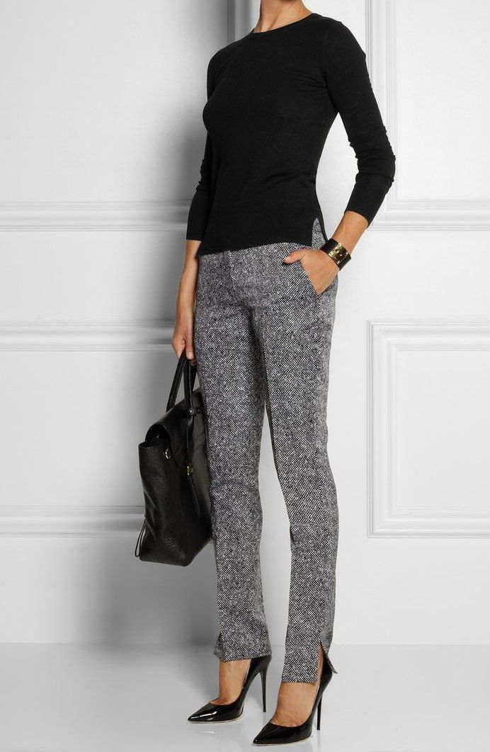 Business Casual Outfit Idea Gray Pants Black Blouse