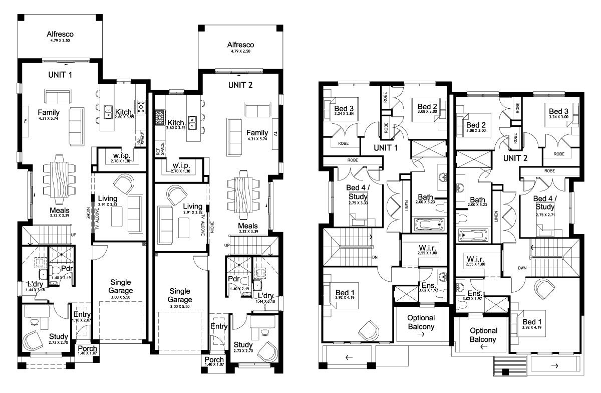 Forest glen 50 5 duplex level floorplan by kurmond for Duplex plans australia