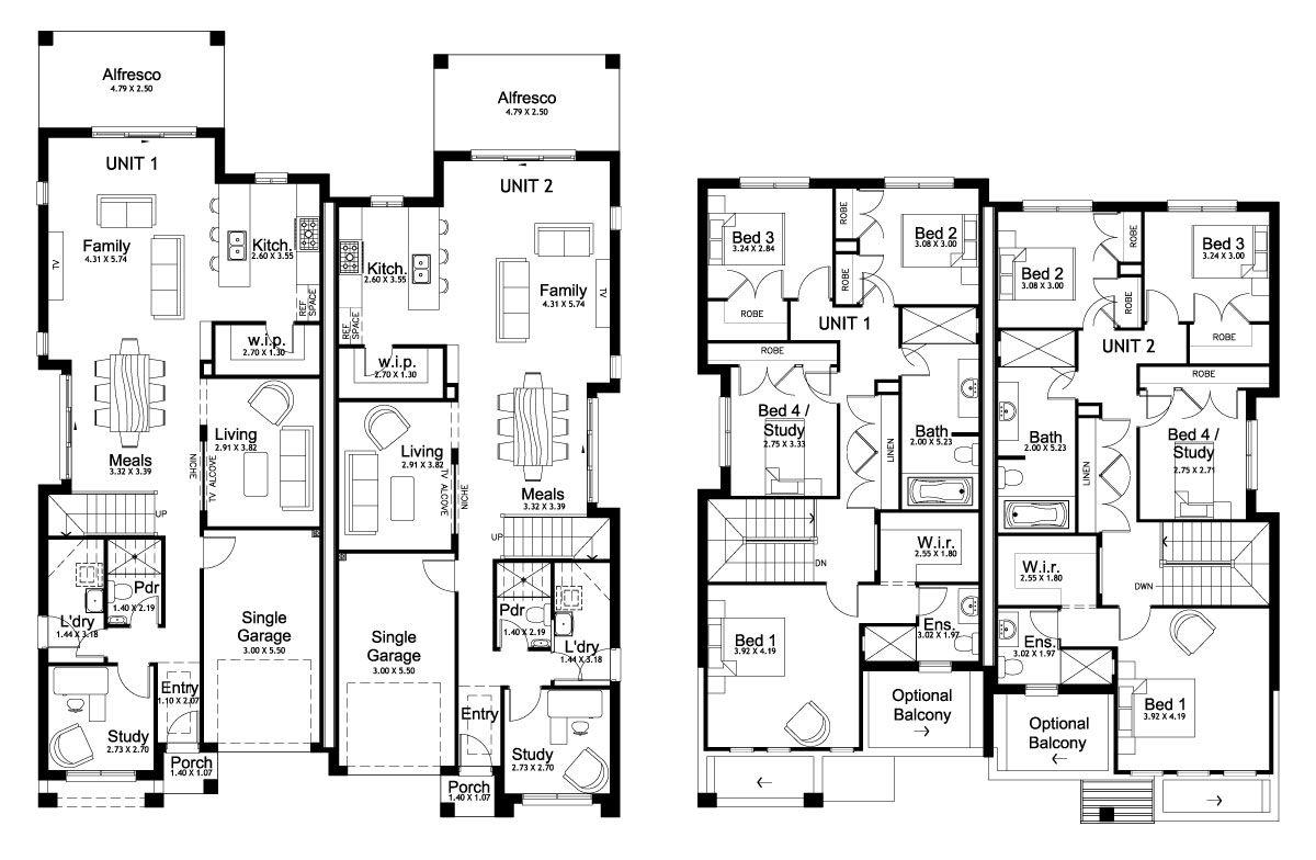 Forest glen 50 5 duplex level floorplan by kurmond for Townhouse construction plans