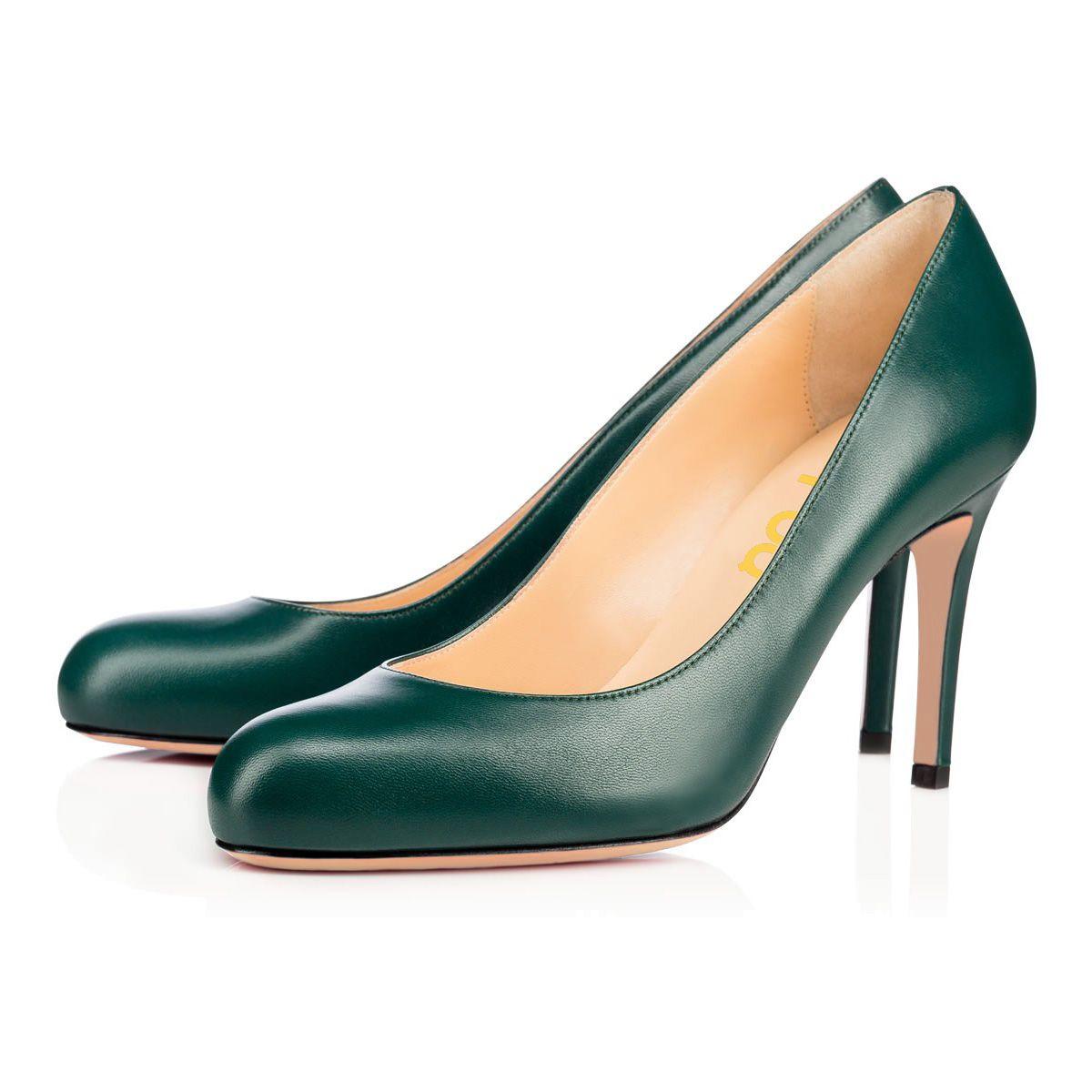 Dark Beryl Green Round Toe Stiletto Heel Pumps 3 Inch Heels