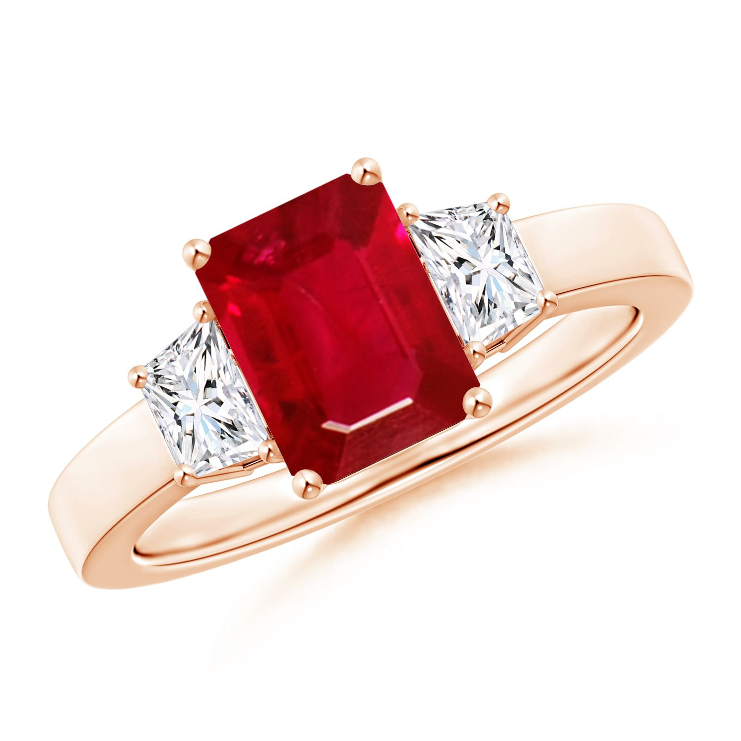 Angara Emerald-Cut Natural Ruby Three Stone Ring in Platinum pnqWK8L