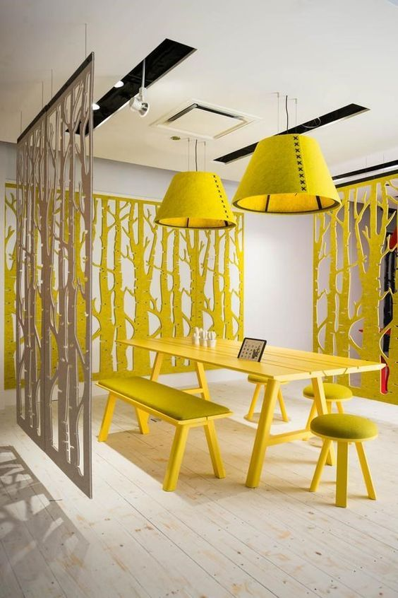 60 spaces where yellow colour makes the mark the architects diary yellow interioracoustic panelsoffice decoroffice