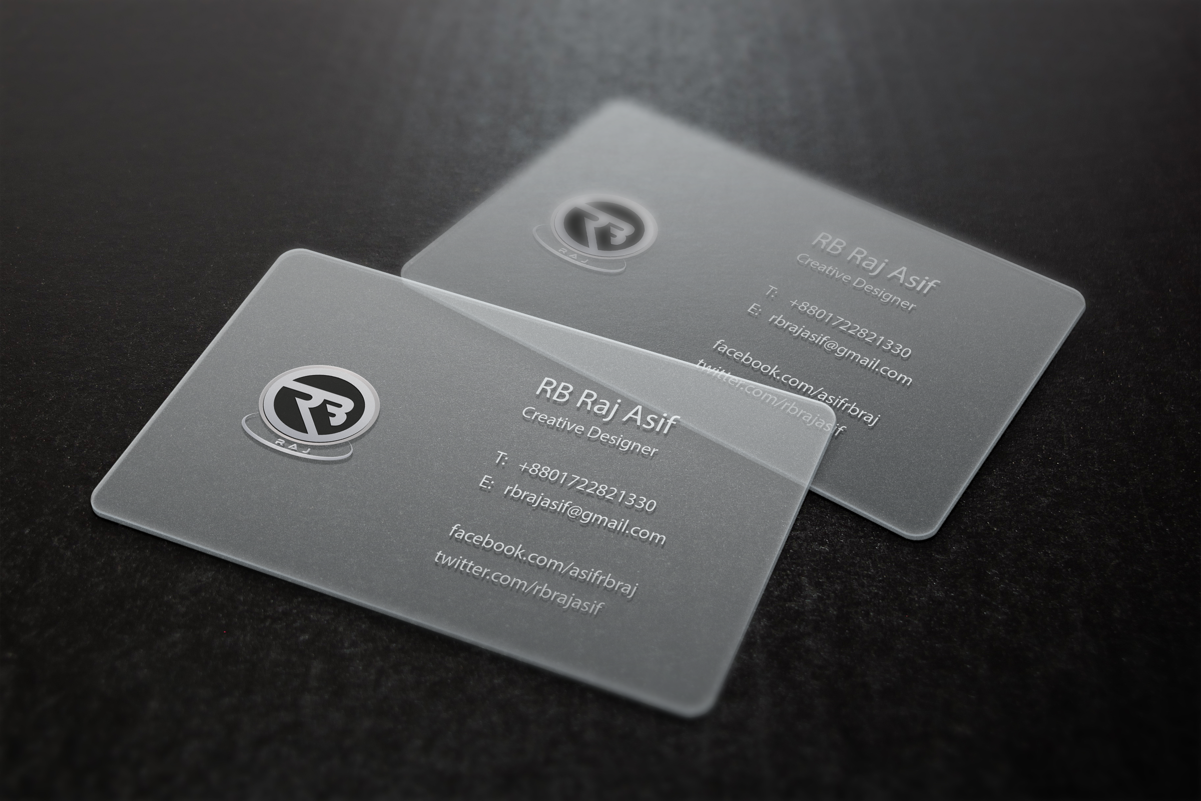 Transparency Business Card Sample Rb Raj Design